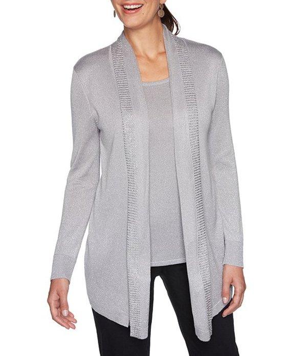 ルビーアールディー レディース カーディガン アウター Petite Size Embellished Shawl Collar Sweater Twofer Cardigan Pearl/Silver