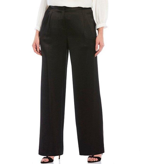ヴィンスカムート レディース カジュアルパンツ ボトムス Plus Size Wide Leg Pleated Satin Pants Rich Black