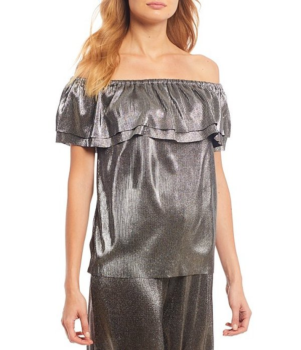 マイケルコース レディース シャツ トップス Plisse Foil Tricot Knit Off-The-Shoulder Flounced Top Silver