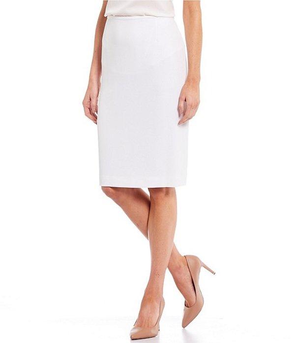 プレストンアンドヨーク レディース スカート ボトムス Kelly Solid Crepe Pencil Skirt True White