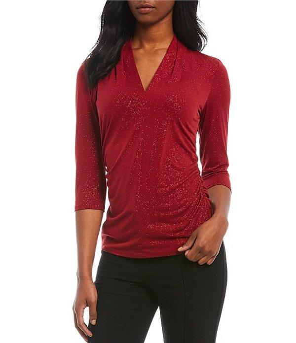 ヴィンスカムート レディース Tシャツ トップス 3/4 Sleeve Glitter Knit V-Neck Top Florence Red