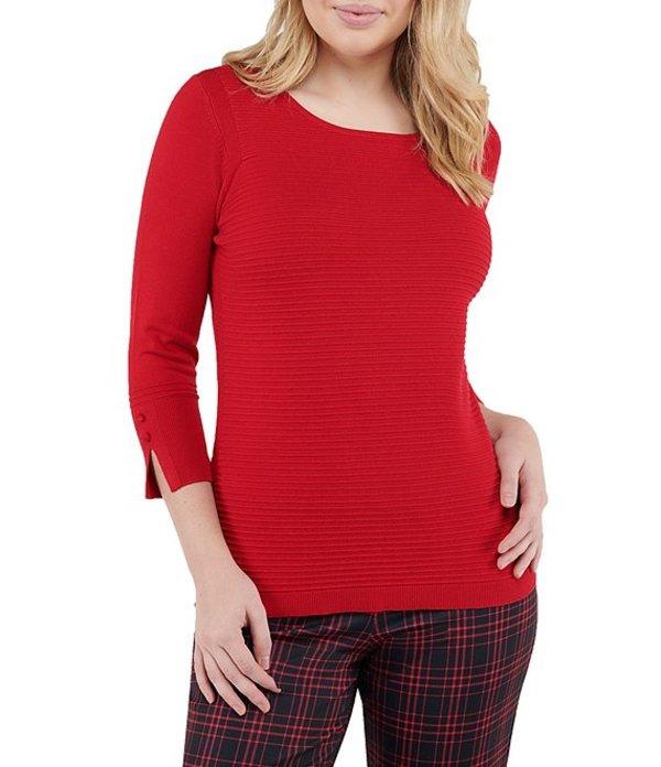 アリソン デイリー レディース Tシャツ トップス Petite Size Solid Rib Wide Crew Neck 3/4 Sleeve Pullover Red
