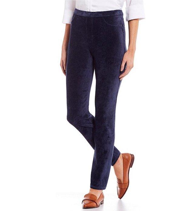 イントロ レディース デニムパンツ ボトムス Petite Size Knit Corduroy Pull-On Straight Leg Pants Industrial Blue