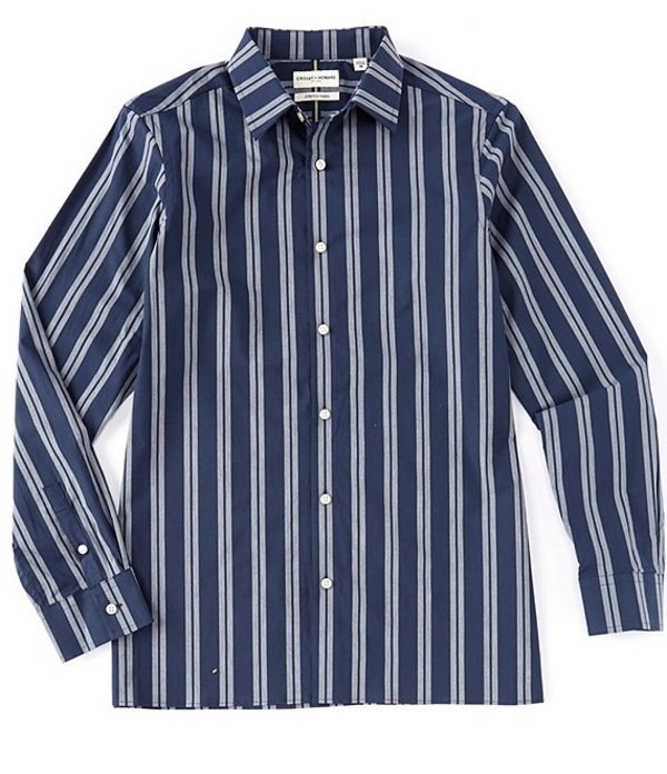 ハワード メンズ シャツ トップス Long Sleeve Logan Double Stripe Sportshirt Dark Blue
