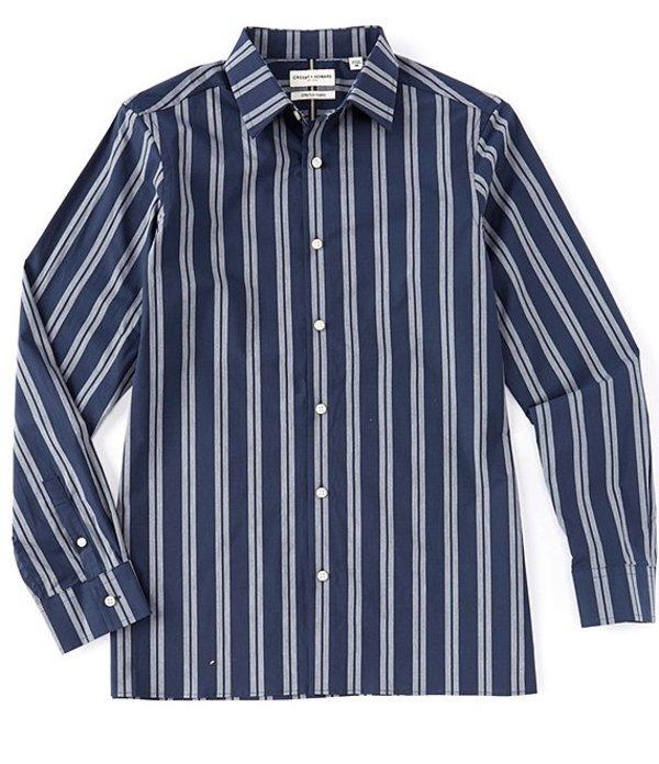 ハワード メンズ シャツ トップス Long Sleeve Logan Double Stripe Sportshirt Dark Blue