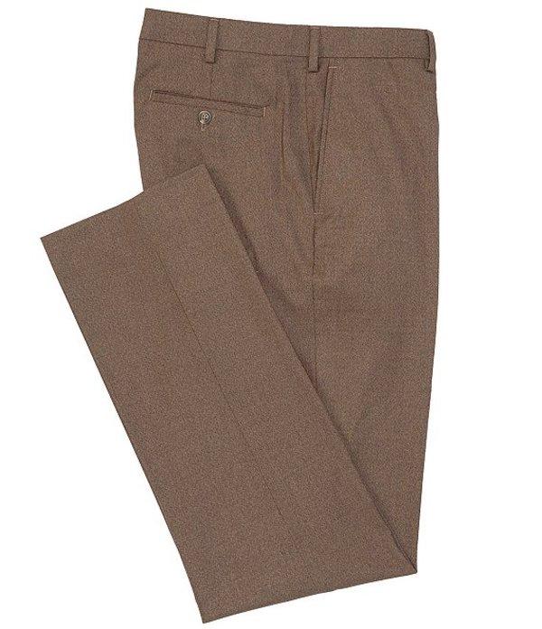 ラウンドトゥリーアンドヨーク メンズ カジュアルパンツ ボトムス Big & Tall TravelSmart Flat-Front Relaxed Checked Dress Pants Brown