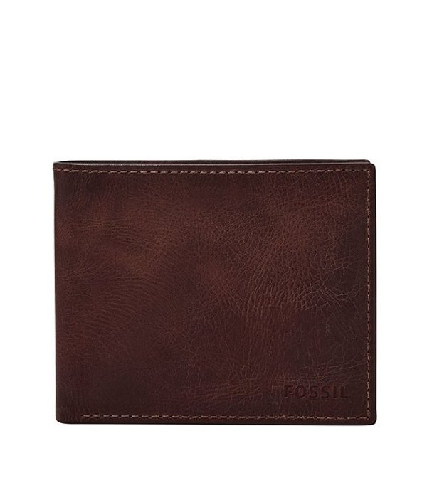 フォッシル メンズ 財布 アクセサリー RFID Derrick Bifold Wallet with Flip ID Black Cherry