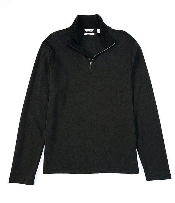 カルバンクライン メンズ パーカー・スウェット アウター Birdseye Quarter-Zip Pullover Black