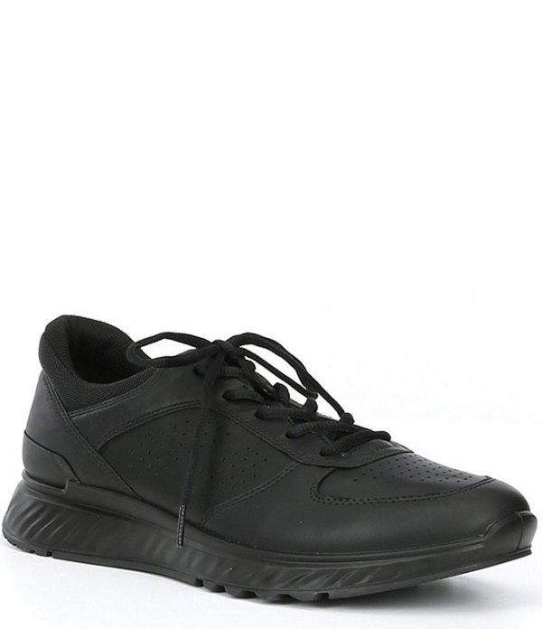 エコー メンズ スニーカー シューズ Men's Exostride Leather Lace-Up Shock Absorbing Sneaker Black