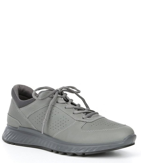 エコー メンズ スニーカー シューズ Men's Exostride Leather Lace-Up Shock Absorbing Sneaker Titanium