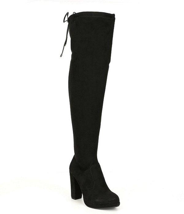 ジービー レディース ブーツ・レインブーツ シューズ Get-Real Platform Stretch Microsuede Over-the-Knee Block Heel Boots Black