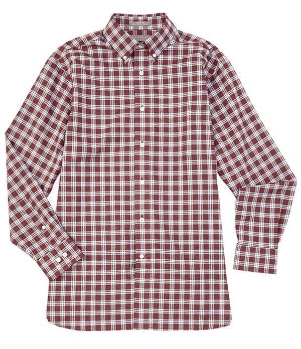 ダニエル クレミュ メンズ シャツ トップス Daniel Cremieux Signature Heather Plaid Multi-Color Long-Sleeve Woven Shirt Burgundy