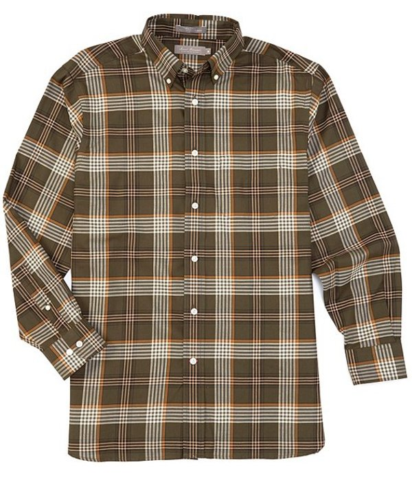 ダニエル クレミュ メンズ シャツ トップス Daniel Cremieux Signature Heather Medium Plaid Long-Sleeve Woven Shirt Dark Olive