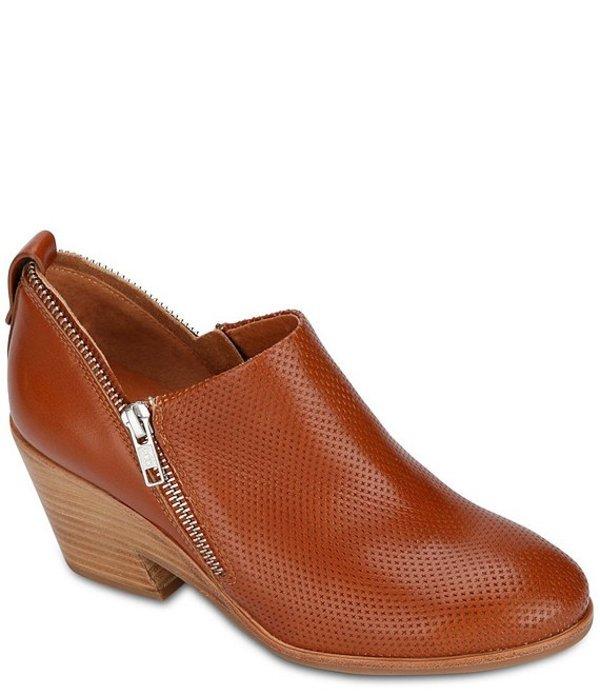 ジェントルソウルズ レディース ブーツ・レインブーツ シューズ Blaise Perforated Leather Double Zipper Detail Stacked Block Heel Booties Cognac