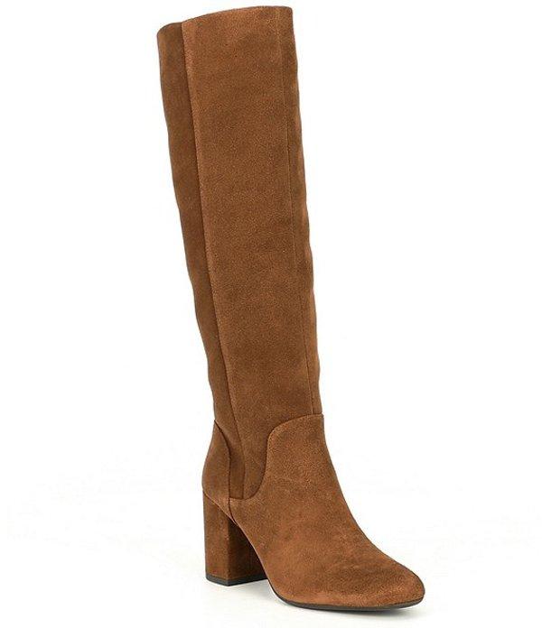 ジャンビニ レディース ブーツ・レインブーツ シューズ Jellenia Suede Wide Calf Scrunch Block Heel Boots Brown