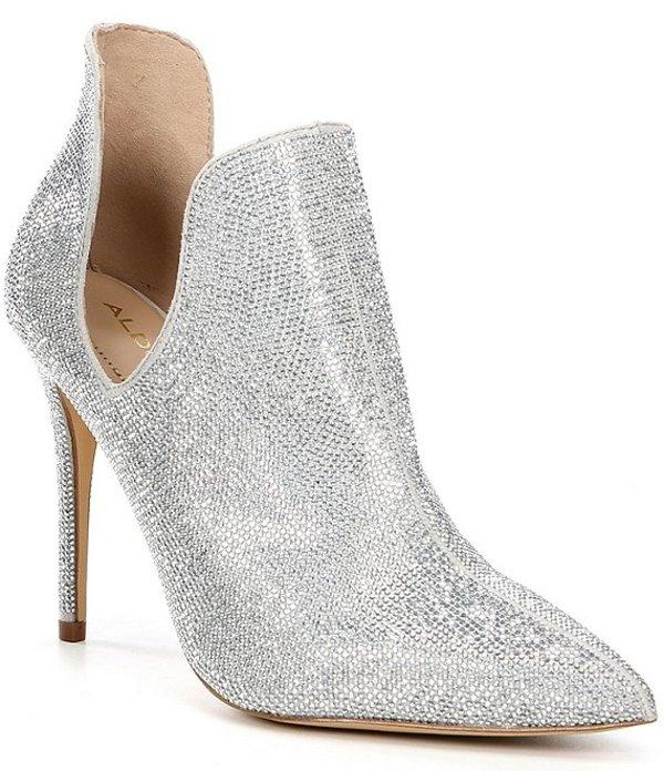 アルド レディース ブーツ・レインブーツ シューズ Amilmathien Cut-Out Sparkly Dress Stiletto Pointed Toe Shooties Silver