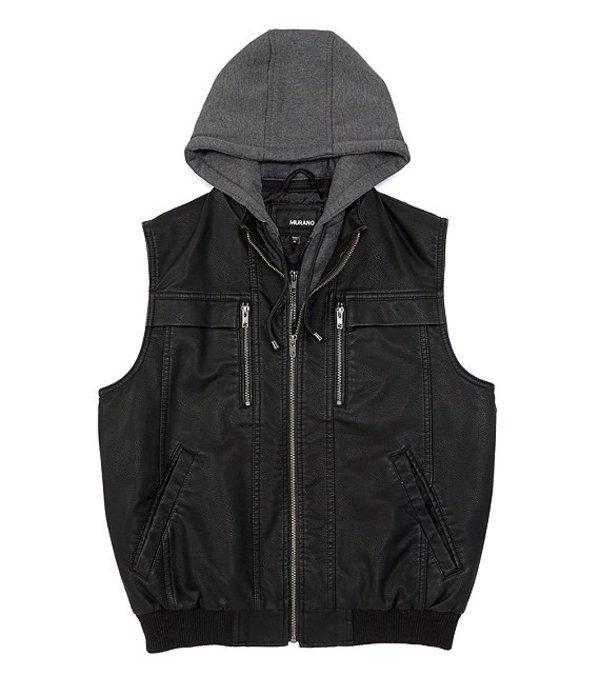 送料無料 サイズ交換無料 ムラノ メンズ アウター ベスト Black ムラノ メンズ ベスト アウター Faux Leather Vest with Removable Hood Black