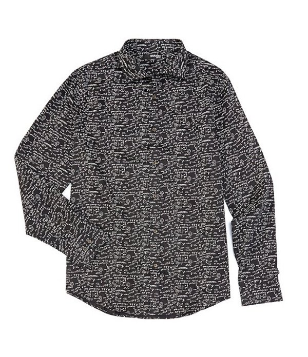 ムラノ メンズ シャツ トップス Slim-Fit Chalkboard Print Long-Sleeve Woven Shirt Black