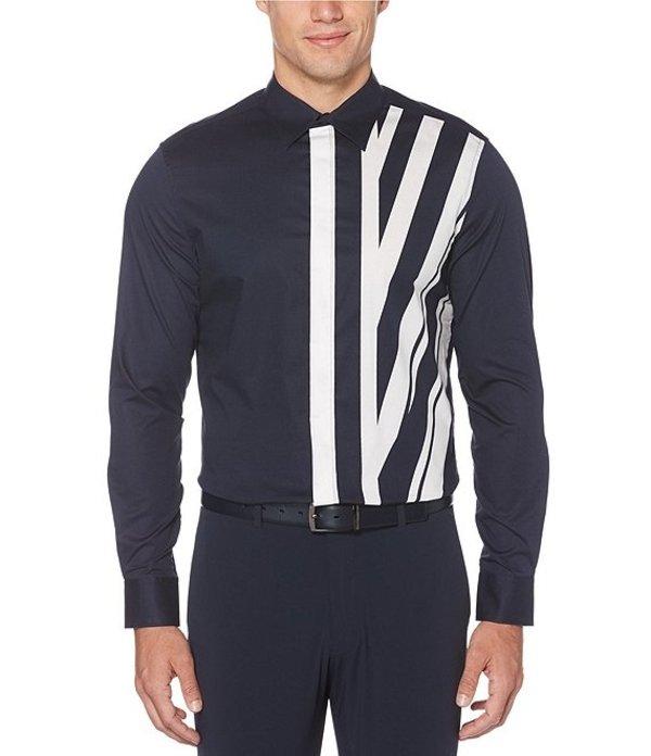 ペリーエリス メンズ シャツ トップス Engineered Stripe Print Stretch Long-Sleeve Woven Shirt Dark Sapphire