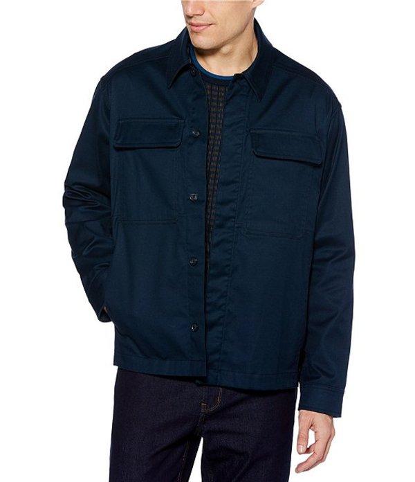 ペリーエリス メンズ ジャケット・ブルゾン アウター Big & Tall Solid Resist Spill Stretch Long-Sleeve Shirt Jacket Dark Sapphire