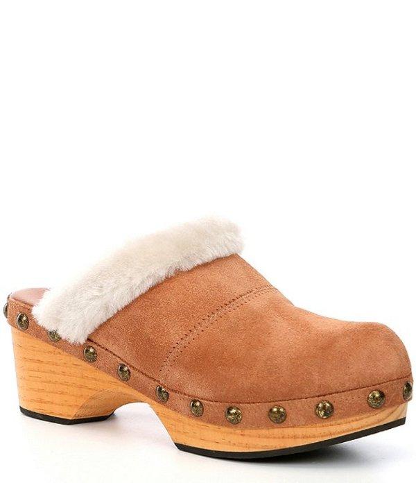 フリーピープル レディース サンダル シューズ Chalet Suede Shearling Collar Studded Wooden Heel Clogs Taupe
