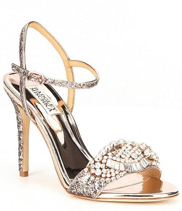 バッジェリーミシュカ レディース サンダル シューズ Odelia Glitter Jeweled Dress Sandals Rose Gold Glitter