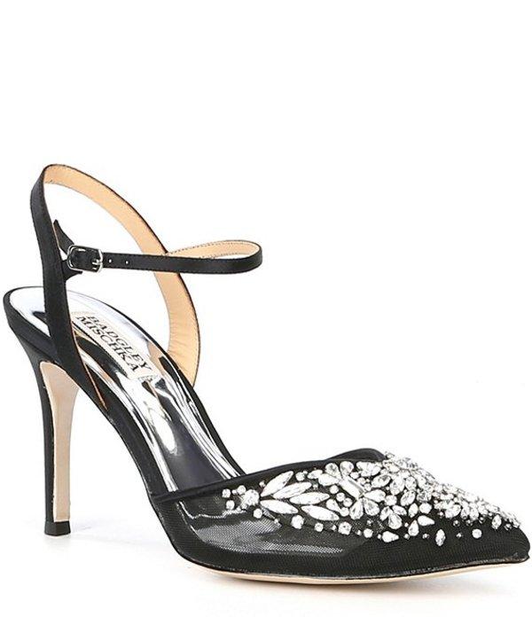 バッジェリーミシュカ レディース ヒール シューズ Opal Ankle Strap Jewel and Rhinestone Embellished Stiletto Heel Pumps Black Satin