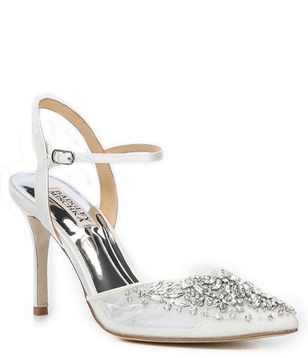 バッジェリーミシュカ レディース ヒール シューズ Opal Ankle Strap Jewel and Rhinestone Embellished Stiletto Heel Pumps White Satin