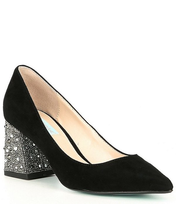 ベッツィジョンソン レディース ヒール シューズ Paige Suede Rhinestone Embellished Block Heel Pointed Toe Pumps Black