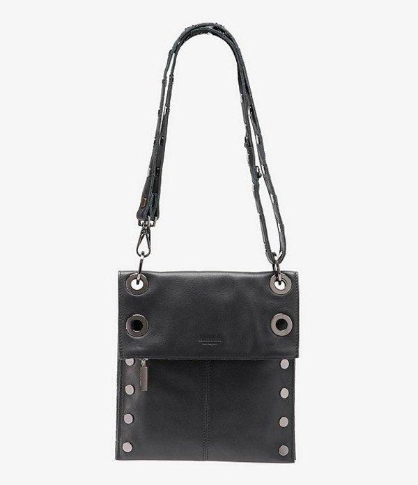 ハミット レディース ショルダーバッグ バッグ Montana Leather Medium Reversible Crossbody Bag Black
