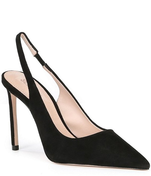 シュッツ レディース ヒール シューズ Celia Mae Suede Sling Back Stiletto Heel Pumps Black