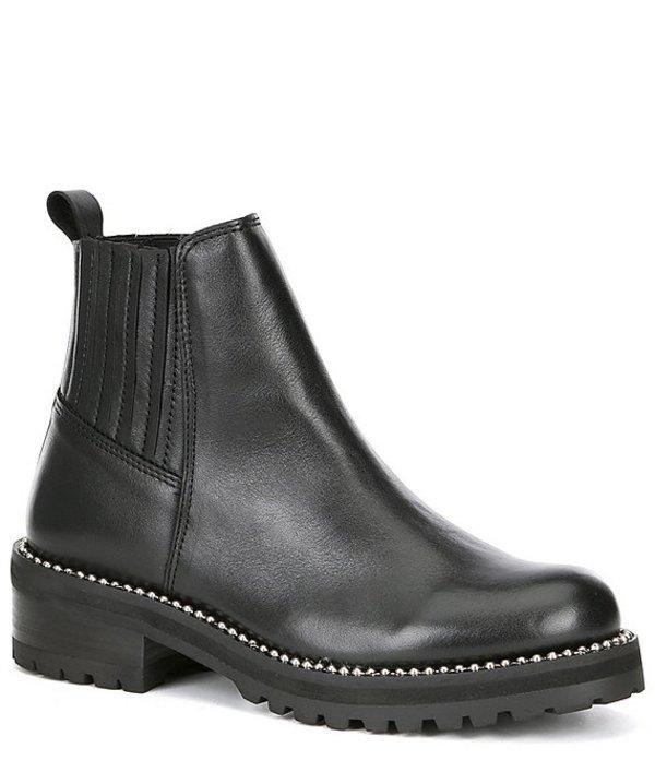 スティーブ マデン レディース ブーツ・レインブーツ シューズ Steven by Steve Madden Gibson Leather Block Heel Booties Black Leather