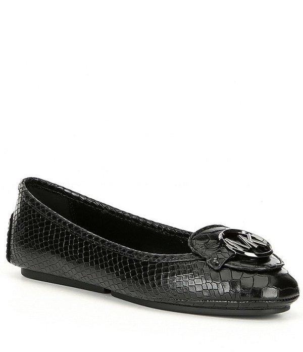 マイケルコース レディース パンプス シューズ Michael Michael Kors Lillie Snake Print Leather Mocs Black