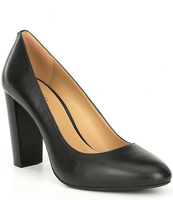 マイケルコース レディース ヒール シューズ Susan Leather Flex Block Heel Round Toe Pumps Black