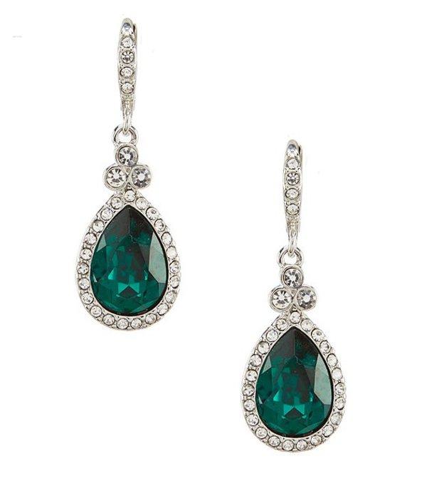 ジバンシー レディース ピアス・イヤリング アクセサリー Green Pave Pear Drop Earrings Silver