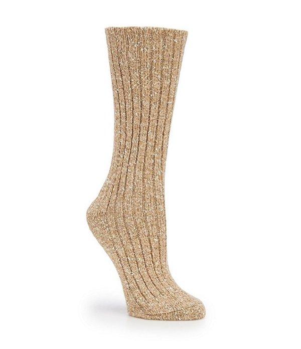 ヒュー レディース 靴下 アンダーウェア Tweed Ribbed Boot Socks Cashew