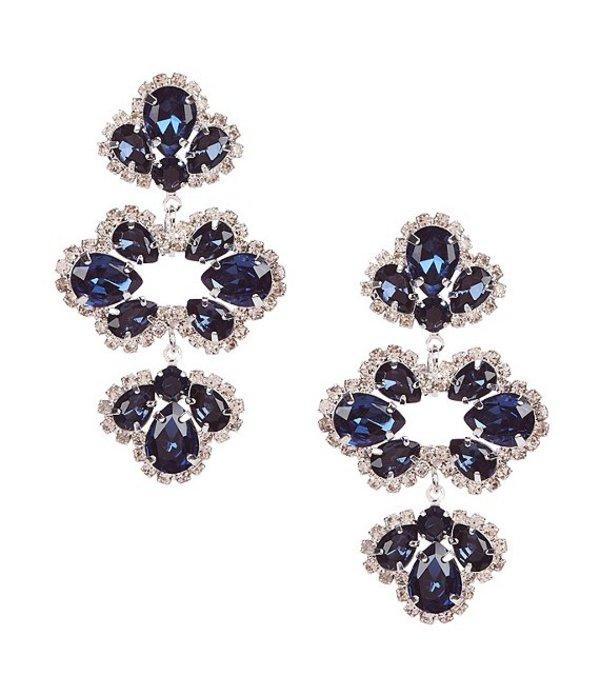 セザンヌ レディース ピアス・イヤリング アクセサリー Floral Rhinestone Chandelier Earrings Silver/Blue/Crystal