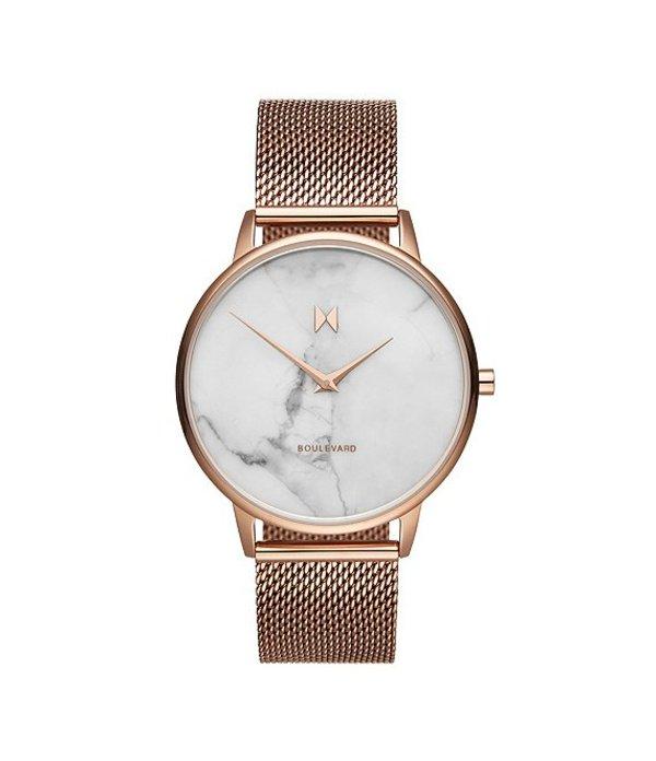 エムブイエムティー レディース 腕時計 アクセサリー Boulevard Collection Malibu Marble Mesh Bracelet Watch Rose Gold
