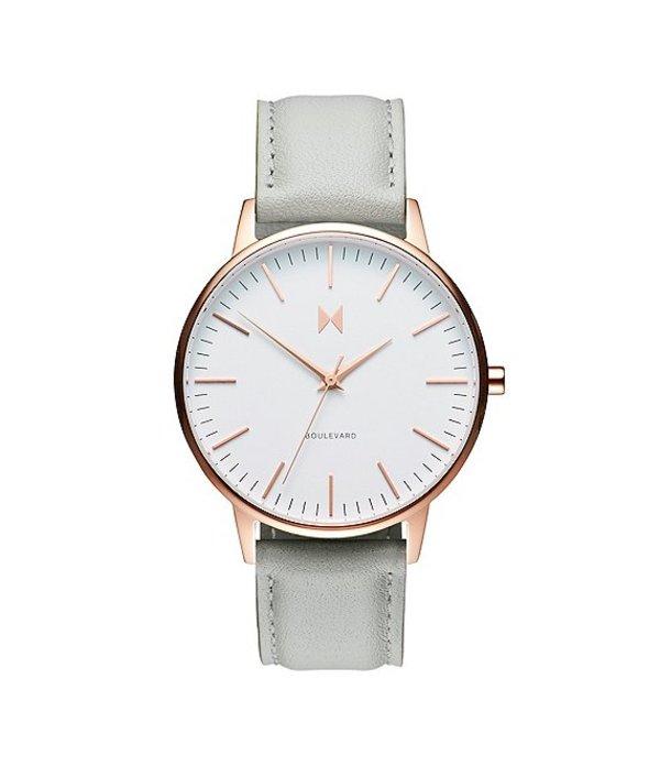 エムブイエムティー レディース 腕時計 アクセサリー Boulevard Collection Beverly Leather Strap Quartz Analog Watch Gray/White