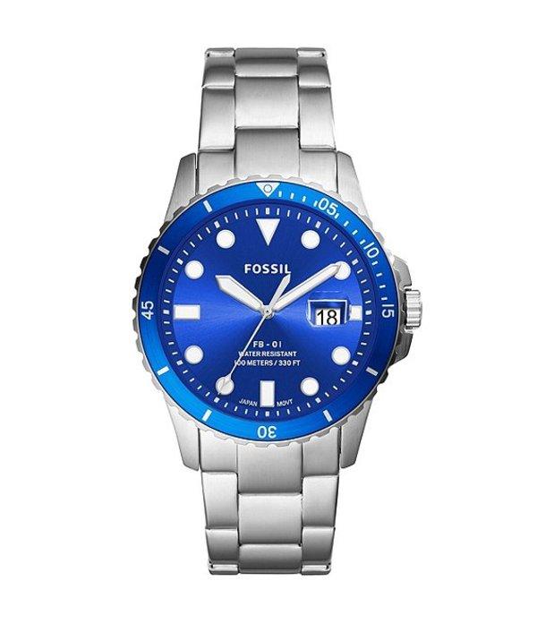 フォッシル メンズ 腕時計 アクセサリー Men's FB-01 Quartz Analog Three-Hand Date Stainless Steel Watch Silver