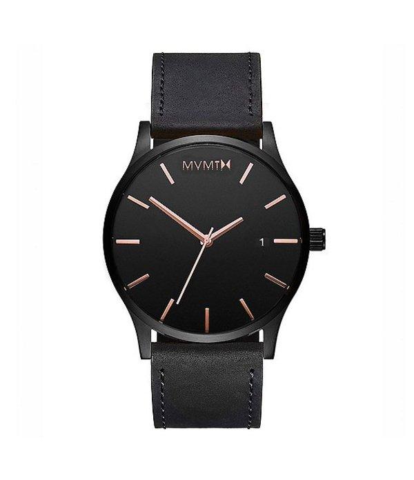 エムブイエムティー メンズ 腕時計 アクセサリー Men's Classic Black Leather Strap Watch Black
