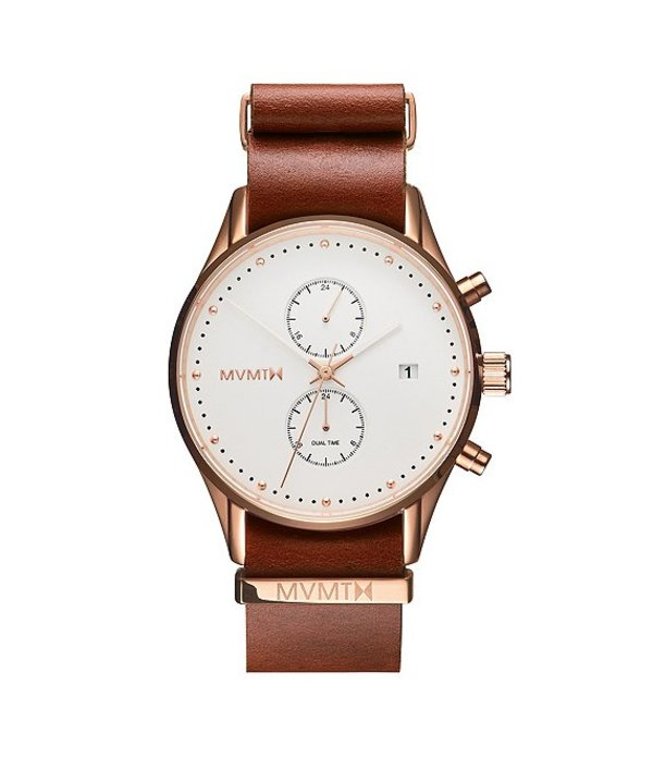 エムブイエムティー メンズ 腕時計 アクセサリー Voyager Collection Men's Multifunction Rosewood NATO Leather Strap Watch Tan/White