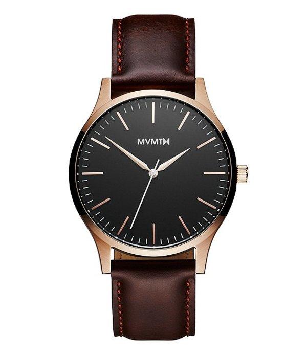 エムブイエムティー メンズ 腕時計 アクセサリー 40 Series Men's Brown Leather Strap Analog Watch Brown