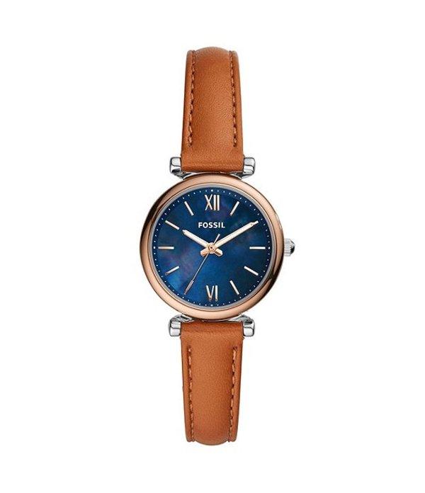 フォッシル レディース 腕時計 アクセサリー Carlie Mini Three-Hand Tan Leather Watch Tan