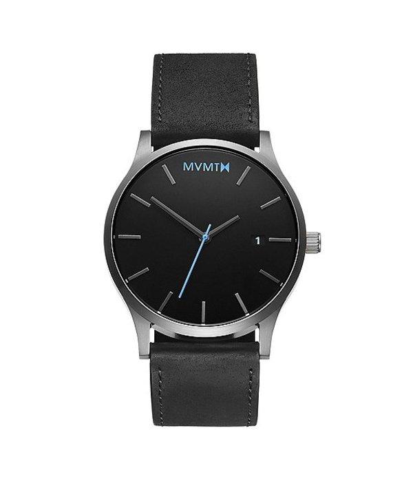 エムブイエムティー メンズ 腕時計 アクセサリー Men's Classic Black Leather Strap Quartz Analog Watch Black