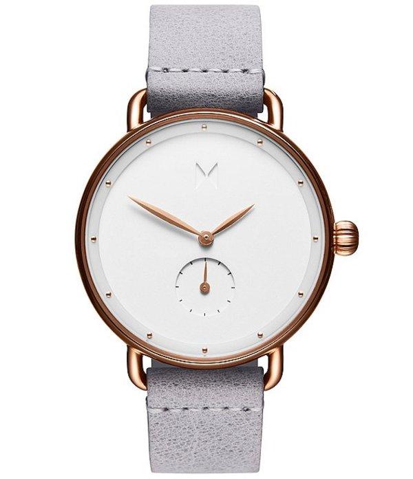 エムブイエムティー レディース 腕時計 アクセサリー Bloom Ghost Iris Grey Leather Strap Quartz Analog Watch Gray/White