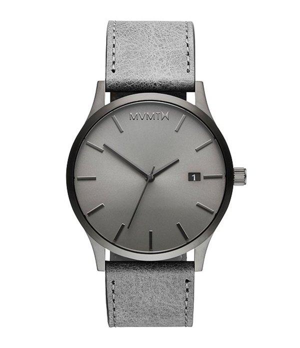 エムブイエムティー メンズ 腕時計 アクセサリー Classic Monochrome Gray Leather Strap Watch Grey