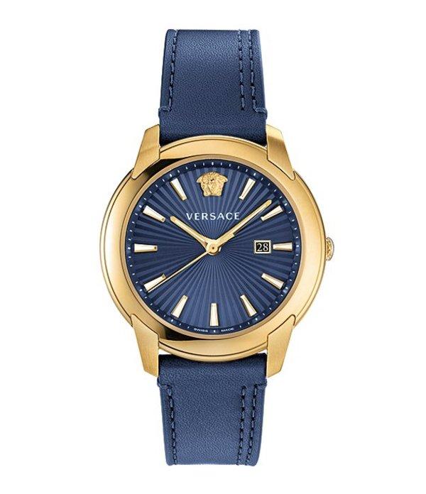 ヴェルサーチ メンズ 腕時計 アクセサリー Men's V-Urban Blue Leather Strap Watch Blue