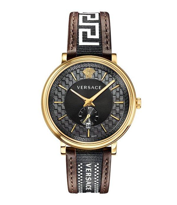 ヴェルサーチ メンズ 腕時計 アクセサリー V Circle Greca Edition Brown Leather Quartz Analog Watch Gold