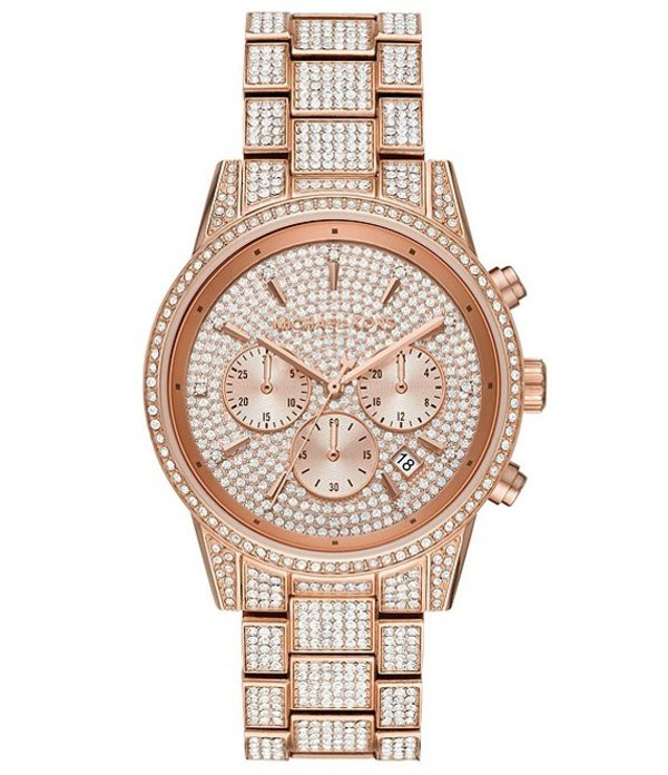 マイケルコース レディース 腕時計 アクセサリー Ritz Three-Hand Glitz Rose Gold-Tone Stainless Steel Watch Rose Gold